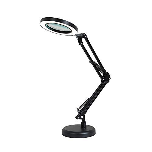 Lampada da scrivania a LED, 8 pezzi, con lente d'ingrandimento 2 in 1, 3 modalità di colore, dimmerabile, lampada a LED con morsetto universale e base per riparazione, lettura, fai da te