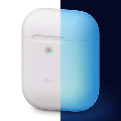 elago A2 AirPods Silikonhülle Case Hülle Kompatibel mit Apple AirPods 2 mit kabellosem Ladecase-LED an der Frontseite Sichtbar, Unterstützt Kabelloses Laden, Stoßfest(ohne Karabiner, Nachtglühen Blau)