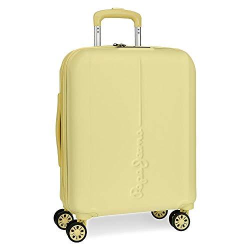Pepe Jeans Glasgow Maleta de cabina Amarillo 40x55x20 cms Rígida ABS Cierre TSA 37L 3,2Kgs 4 Ruedas dobles Extensible Equipaje de Mano