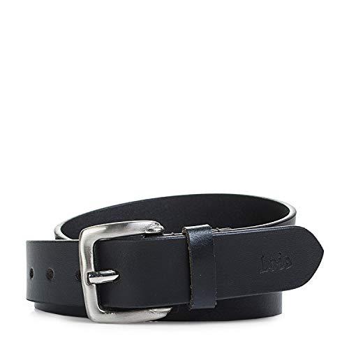 Lois - Cinturon de Mujer Piel Cuero Genuina con Hebilla Metálica. Flexible y Duradero. Diseño de Marca Original, Hecho en España. Talla Ajustable Ancho 30 mm 49807, Color Negro