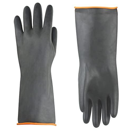 Handschuhe Säurefest Lang-Chemikalien Schutz Handschuhe-Säure-und Alkalibeständigkeit Handschuhe Chemie Handschuhe, Schwarz 1 Paar 35 cm, Nur Eine Größe