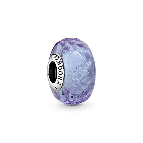 Pandora Wellenförmiges Lavendelblaues Murano-Glas Charm, 798875C00, Lila, 1,3cm