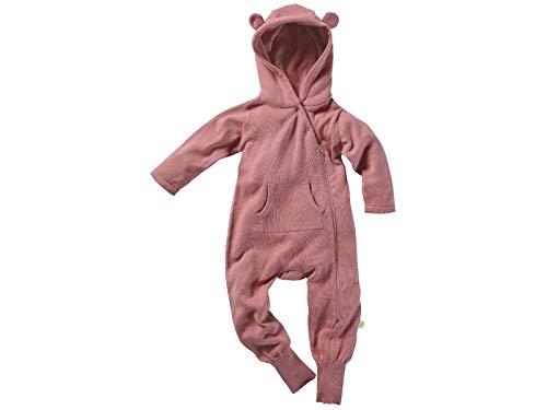 Bio Baby Overall Strickanzug mit Kapuze 100% Bio-Baumwolle (kbA) GOTS zertifiziert, Dunkelrosé Melange, 50/56