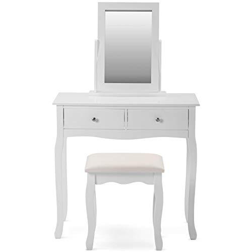 Tocador blanco con espejo y taburete, juego de mesa de tocador de maquillaje con estantes, aparador para niñas, escritorio de maquillaje para dormitorio, color blanco