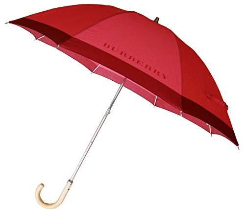 [バーバリー] BURBERRY 傘 日傘 晴雨兼用 紫外線防止 2段階 伸縮 プチパラ バーバリー印字入り 日本製 レッド
