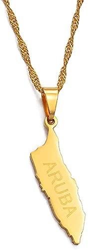 Yiffshunl Collar Moda Aruba Mapa Colgante Collar Cadena Fina Joyería de Color Dorado Regalos para Las Islas regionales del Mar Caribe