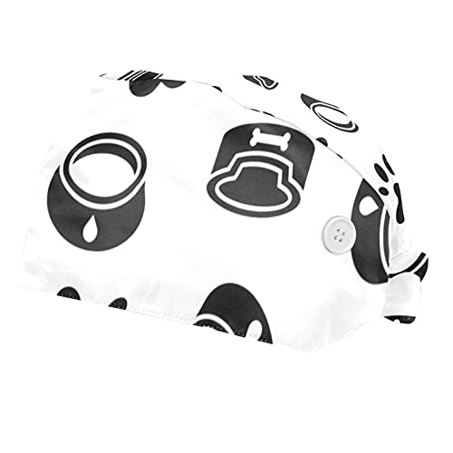 Dog Dish Paw Foot Print Black Printed Working Cap with Button, Cotton Working Hat Sweatband, Elastic Bandage Tie Back Hats for Women & Men, One Size,2 Packs