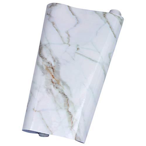 Vosarea Marmortapete Selbstklebende Marmorplatte Folie Wasserdicht Schälen Und Kleben Marmoroptik Papier für Küchenschrankmöbel 60Cmx5m