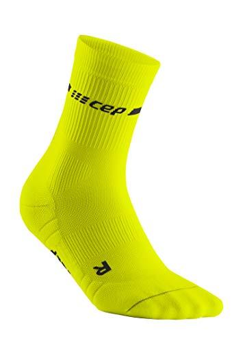 CEP – NEON Compression MIDCut Socks für Herren | Laufsocken mit Kompression für mehr Leistung in neon gelb | Größe IV