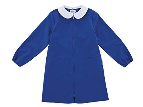 siggi Grembiule Scuola Linea Happy School - Elementare Bambina Colore Blu Senza Ricamo Personalizzabile Abbottonatura Centrale con Zip, Colletto Bianco.
