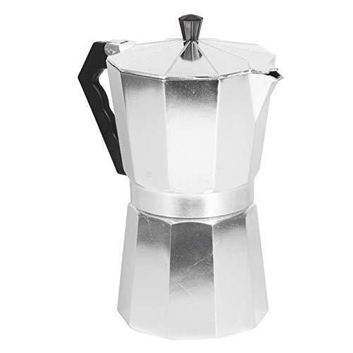 Olla de aluminio Moka, cafetera octogonal hervidor de agua cafetera capuchino con mango de plástico para cafetería casera, resistente al calor(450 ml)