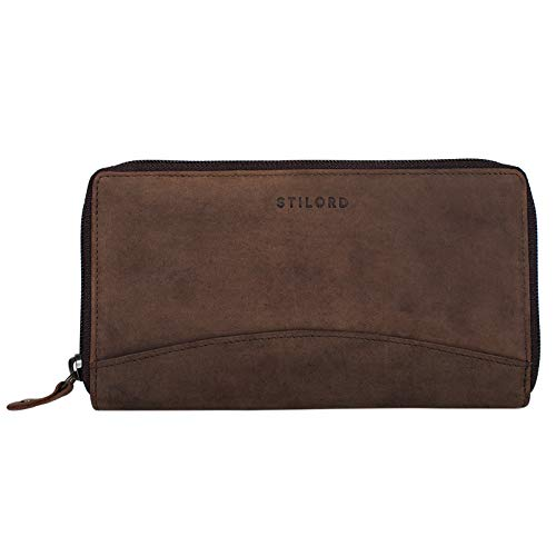 STILORD 'Saskia' Portemonnaie Damen Leder groß mit RFID Schutz viele Fächer Vintage Brieftasche im Querformat Geldbörse für EC-Karten Kleingeld Ausweis, Farbe:matt - braun