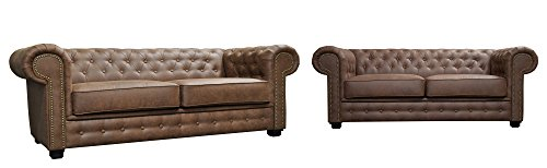 Astor Chesterfield Style Sofa Set 3+2 Seater Armchair Brown Faux Leather (3+2 Seater)
