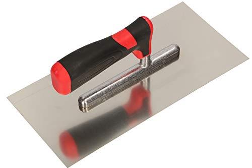 KOTARBAU® Edelstahl Glättkelle ohne Zahnung 270 x 128 mm zum Verlegen von Fliesen Glättscheibe Traufel Edelstahlkelle mit Softgriff unentbehrlich beim Fliesen