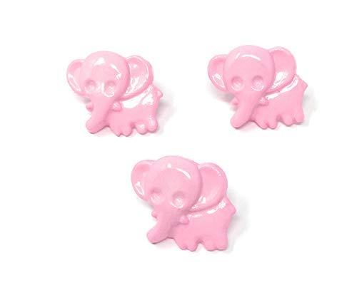 Lot de 10 x Boutons Eléphant à Queue 15mm : Rose