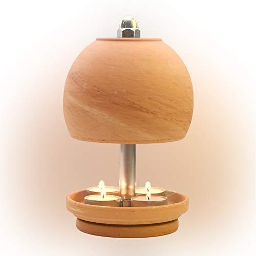 HP-TLO-Serie-K-M-22/13-4 Kerzen! Kugel Serie - Modell Marbled, Teelichtlampe Teelichthalter Teelichtofen Stövchen Meditationszubehör Kerzenhalter Teelichter + Feuerzeug GRATIS
