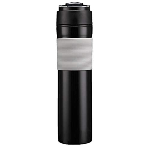 TIREOW 350ml Reise Becher Wasserflasche Reisebecher Kaffee Becher Auslaufsichere Kaffeemaschine Becher Manueller Kolben Für Mädchen Junge Studenten (Schwarz)