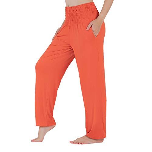 Lofbaz Pantalones de Yoga para Mujer Pantalones Deportivos de Cintura Alta Jogger Pijamas de Maternidad Legging Ropa para Mujer Naranja L