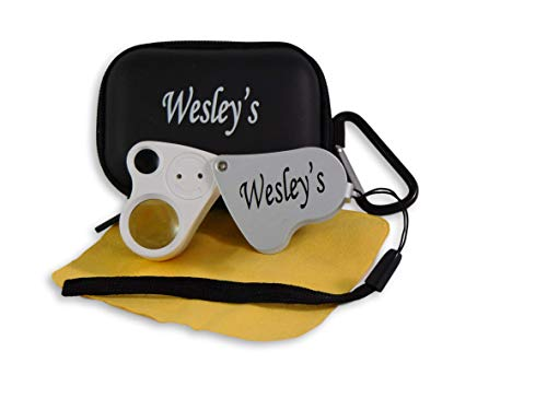 Jewelers Loupe 30X 60X LED Illuminated - Jewelry Loop Magnifier with Case for Geology, Gems, Gardening, Electronics, Industrial by Wesley's as you wish