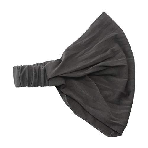 Qinlee Einfarbig Haarbänder Damen Stirnband Yoga Sport Kopftuch Bandana Elastic Breit Stirnbänder Mädchen Frisuren Haarband (Grau 1)