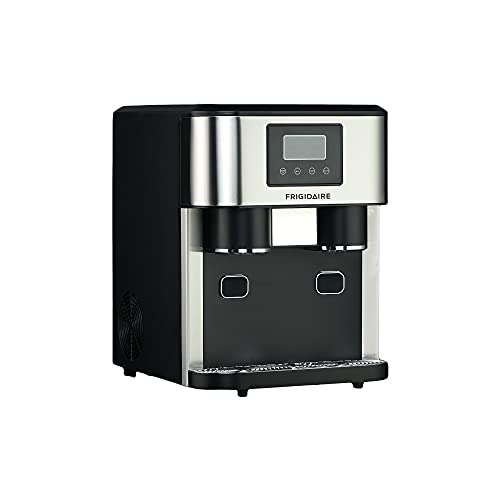Frigidaire EFIC245-SS EFIC245 3-in-1 Countertop Crunchy Chewable Nugget Style Dual Ice Crusher and Cube Maker, Makes 33 Pounds in 24 Hours, 2 Sizes, with Water Dispenser and Line-in, Stainless Steel