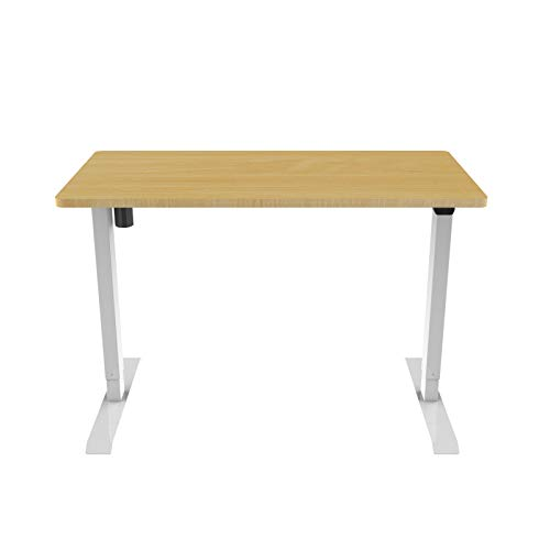 Escritorio ergonómico de roble con tablero de 1,4 x 0,7 m, aspecto de madera de roble, altura regulable, ergonómico, respetuoso con la espalda