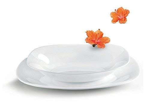 Bormioli Rocco, collezione Parma, servizio da tavola da 18 pezzi in vetro opale bianco, con piatti e ciotole per 6 persone