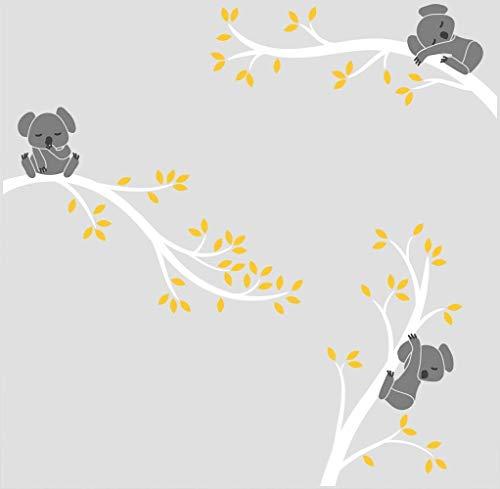 BDECOLL diseño Koalas de Pared,Pegatina de Pared Vinilo Adhesivo Decorativo para Cuartos, dormitorios,Cocina,Sala de Estar(Blanco)