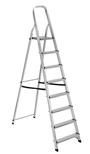 Scala alluminio Everest 8 gradini Per uso domestico e bricolage Portata max 150 kg.