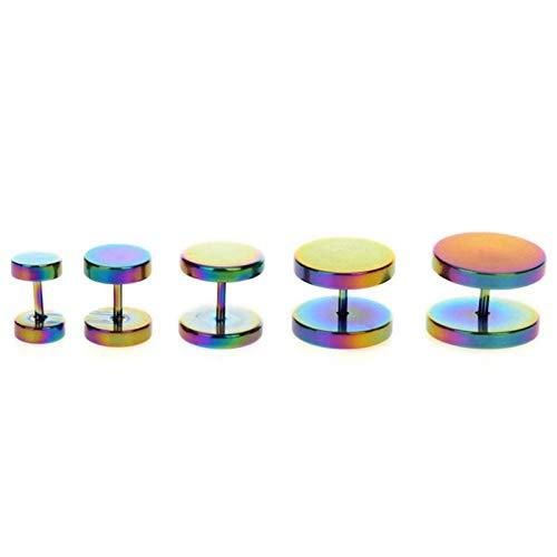 LDGR Tornillo De Acero Inoxidable Tapón De Oreja De Carne Túnel De Carne Pendientes Pendientes Ear Stretch Expander 18 Calibre 6-14mm (Main Stone Color : 8mm, Metal Color : B)