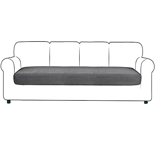 JHLD Stretch Sofa Sitzkissenbezug, Wildleder Sitzkissenschutz Elastische Sofa-Sitzkissenbezüge Sofa-Sitzkissenbezug Für Stühle, Sofas-grau-4-Sitzer