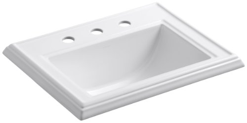 KOHLER K-2241-8-0 Memoirs Classic Drop-In Bathroom Sink, White
