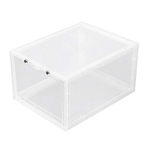 TimmyHouse Shoe Box Mens Clear High Duty Stackable Sneaker Container Storage Organizer 4pcs