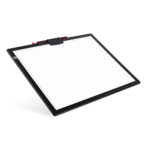 XLOO Mesa de Luz Dibujo A3,atenuación de 6 Velocidades, Portalápices Magnético con Escala Precisa,Cable de Datos USB Tipo C,Muy Adecuado para Pintura,Diseño Y Bocetos con Diamantes