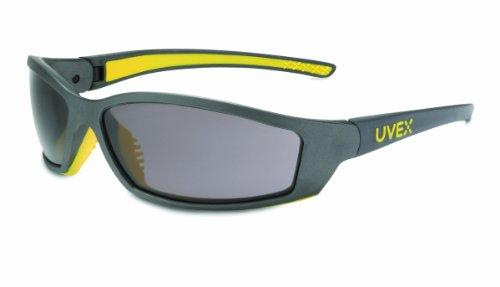 Uvex SX0401 SolarPro Safety Eyewear Gray Supra-Dura Hardcoat Lens, Gray and Yellow Frame