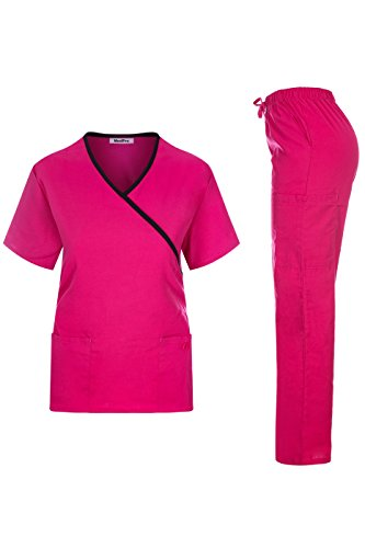 MedPro Women's Contrast Trimmed Solid Medical Scrub Set Mock Wrap Top and Cargo Pants Hot Pink & Black S