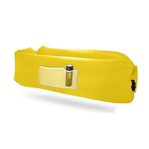XUE-SHELF Aufblasbare Liege, Luft-Sofa, perfekt für Strandstuhl, Campingstühle oder tragbare Hängematte, inklusive Reisetasche und Taschen, einfach zu verwendendes Campingzubehör, Gelb
