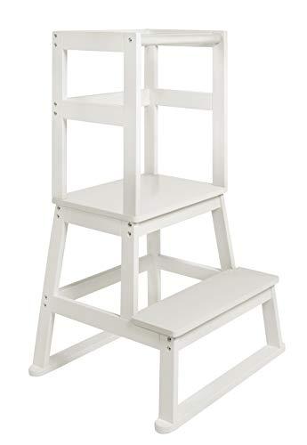 BOMI® Babystuhl Swubi aus Holz für Kinder ab dem Stehalter | Hocker zweistufig extra hoch | Trittschemel, Tritthocker für Mädchen und Jungen | Schemel mit 2 Stufen für Waschbecken und Küche
