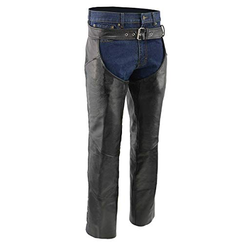 Men's XS432 Classic Black Thermal Lined Leather Motorcycle Chaps with Jean Style Pockets - X-Large