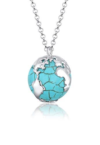 Elli Halskette Damen mit Anhäbger Weltkugel Howlith in 925 Sterling Silber