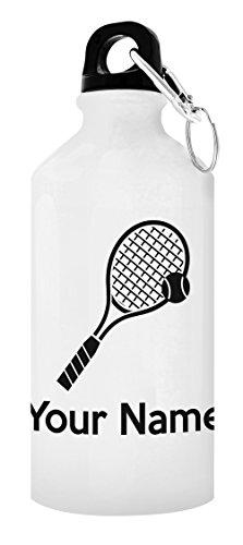 Customized Tennis Equipment Customized Tennis Water Bottle Personalized Gift 20-oz Aluminum Water Bottle with Carabiner Clip Top White