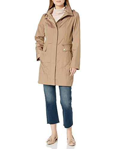 Cole Haan Women's Single Breasted Packable Rain Jacket with Removable Hood, Champagne, Medium