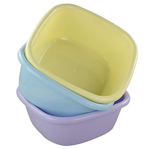 Utiao 12 Quart Wash Basin, Colored Dish Pan Tubs, 3 Packs