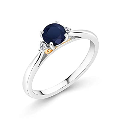 Gem Stone King 925 Silver and 10K Yellow Gold Blue Sapphire and White Lab Grown Diamond Women Engagement Ring (0.64 Cttw, Gemstone Birthstone, Available in size 5, 6, 7, 8, 9)