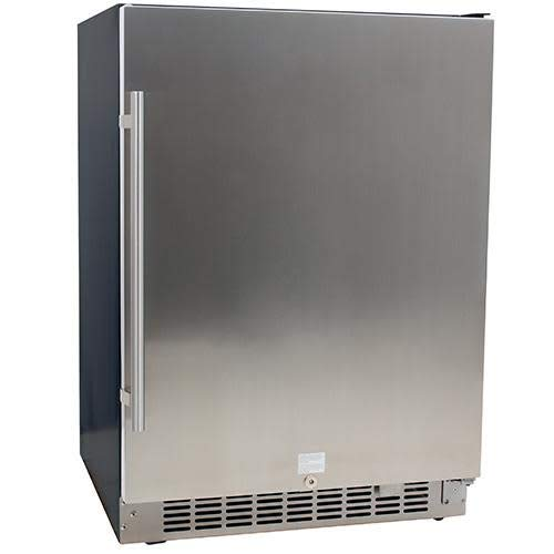 5.49 Cu. Ft. EdgeStar 142 Can Stainless Steel Beverage Cooler - Black and Stainless Steel