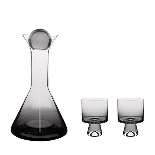 JINGZHUN Decantador, Decantador de Cristal sin Plomo, decantador de Vino Tinto, Botella de Agua fría Gris de Alto Grado, Copa de Vino (Size : 1 Decanter and Two Wine Glasses)