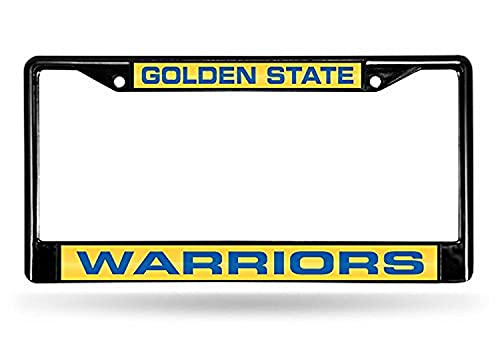 Rico Industries NBA Golden State Warriors Laser Cut Inlaid Standard Chrome License Plate Frame , 6 x 12.25-inches