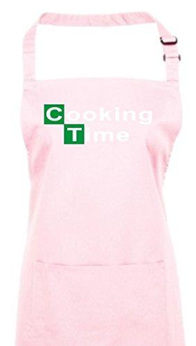 Delantal, Breaking BAD Heisenberg Colour blanco cooking time muchos coloures, algodón, rosa, 72 cm x 86 cm