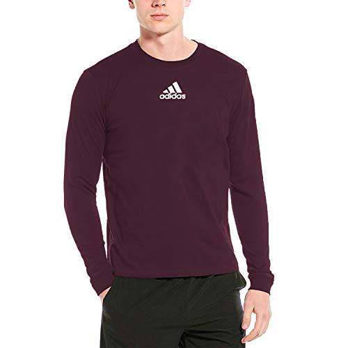adidas Men's Amplifier Long Sleeve Logo T-Shirt EK02 (Maroon, X-Large)