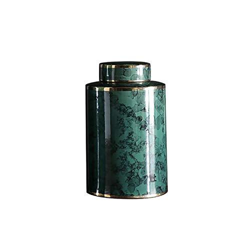 LYQZ Ceramic Decorative Pot, Dark Green Gold Rim Storage Pot, Home Bedroom Straight Decorative Porch Storage Ornaments (Size : 17cm)